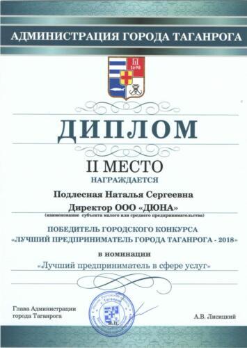 Диплом Лучший предприниматель Таганрога 2018