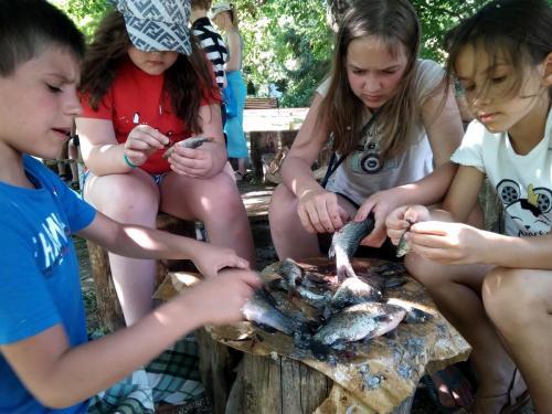 Добыли огонь трением, разожгли костер, теперь чистим рыбу скребками из кремня, которые сами сделали